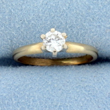 Almost 1/2ct Solitaire Diamond Engagement Ring In 14k Yellow Gold