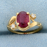 Morganite And Diamond Pinky Ring In 14k Yellow Gold