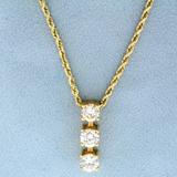 2.3ct Tw 3 Stone Diamond Journey Pendant On Chain In 14k Yellow Gold