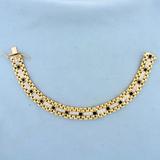Mens Heavy 2ct Diamond And Onyx Jubilee Style Bracelet In 14k Yellow Gold