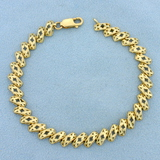 Designer Link Diamond Cut Bracelet In 14k Yellow Gold