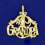 Number One Grandpa Pendant Diamond Cut In 14k Yellow Gold