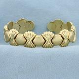 Italian Made Designer Cuff Bracelet In 14k Yellow Gold