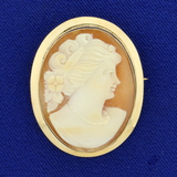 Antique Cameo Pendant Or Pin In 14k Yellow Gold