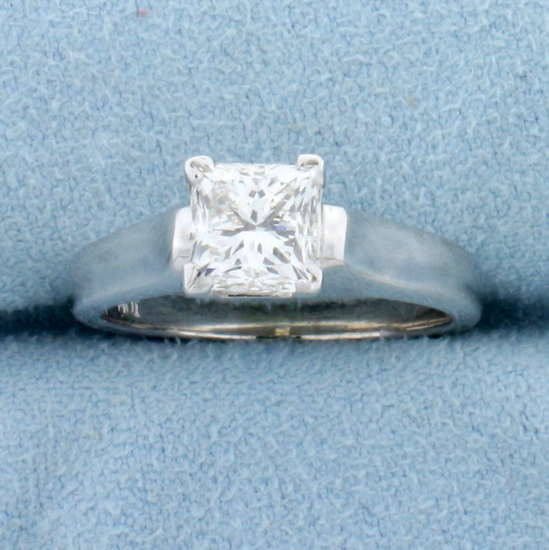 Gia Certified 1.5ct Princess Solitaire Diamond Engagement Ring In 14k White Gold