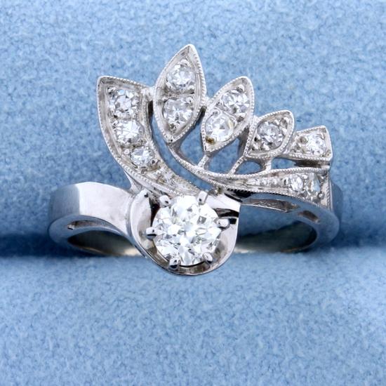 Antique 1/2 Ct Tw Old European Cut Diamond Ring In 14k White Gold
