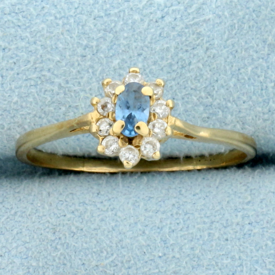 Swiss Blue Topaz And Diamond Ring In 10k Yellow Gold