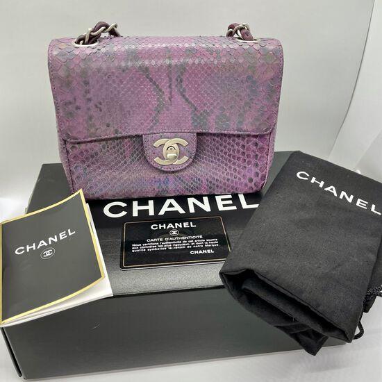 Authentic Chanel Flap Bag Exotic Iridescent Purple Python Mini