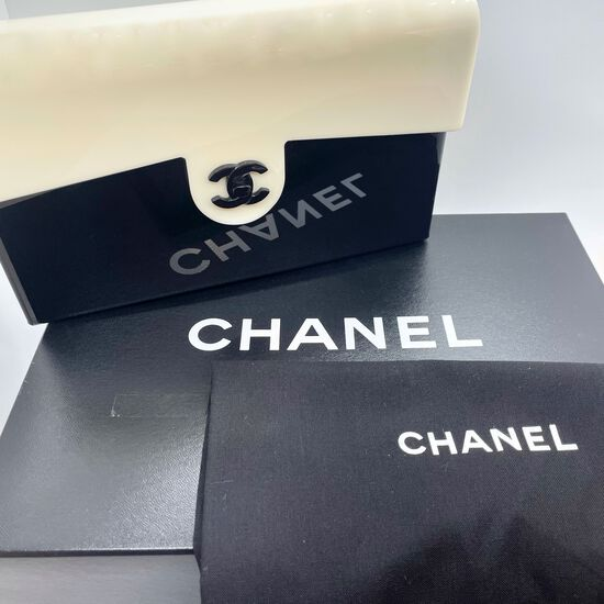 Authentic Chanel Medium Flap Bag Black And Ivory Plexi Acrylic Plastic