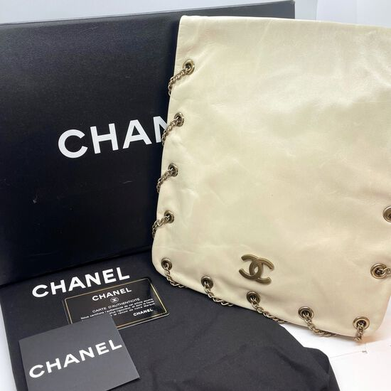 Authentic Chanel Crossbody Bag Pearlescent Winter White Chain Wrap 3-way