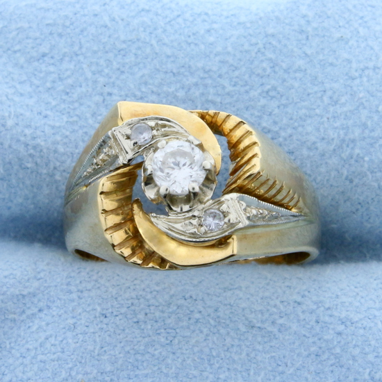 Unique Custom Designed Vintage .3ct Tw Diamond Ring In 18k Yellow And White Gold