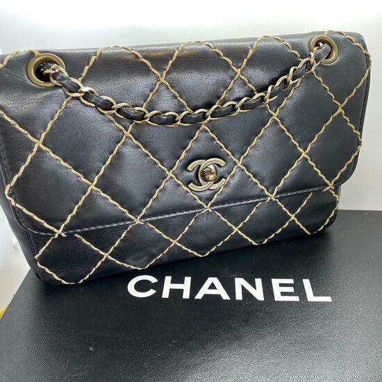 Authentic Chanel Shoulder Bag Wild Stitch Classic Single Flap Medium Black