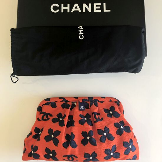 Authentic Chanel Clutch Bag Red White Blue Floral Monogram Pique Frame