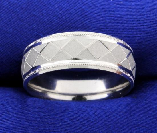 Designer Beaded Edge Geometric Design Wedding Band Ring In Platinum