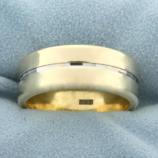 Unique Two Tone Wedding Band Ring In 14k Yellow And White Gold