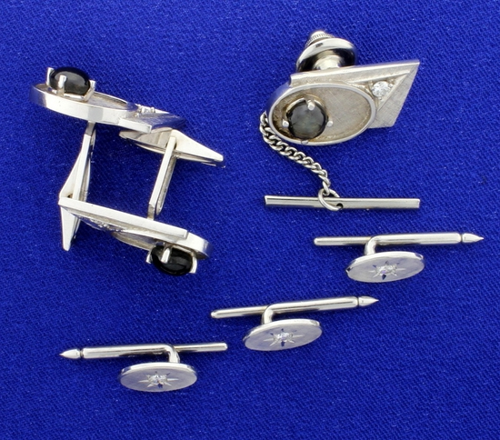 Diamond And Star Sapphire Cuff Links, Tie Tack, And Tuxedo Stud Set In 14k White Gold
