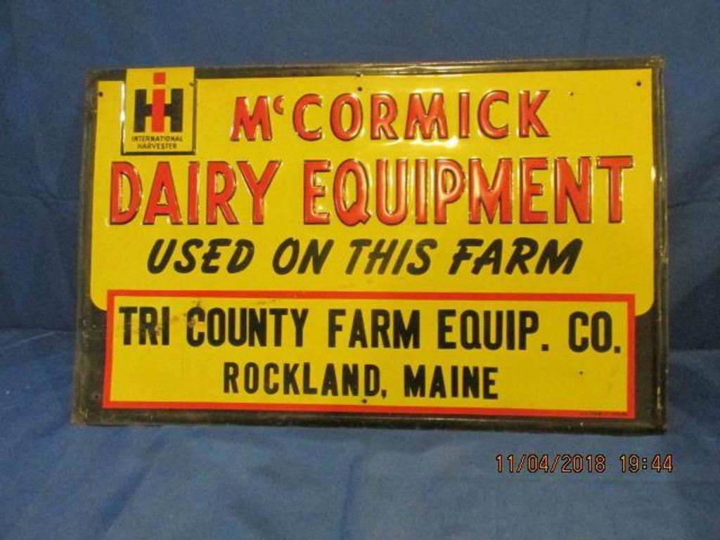 Lot: Dealer sign from Tri County Farm Equipment  Co  Rockland Maine
