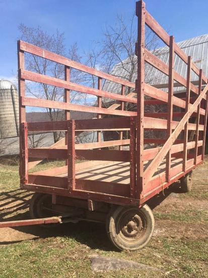 flatbed hay wagon w/ wooden racks