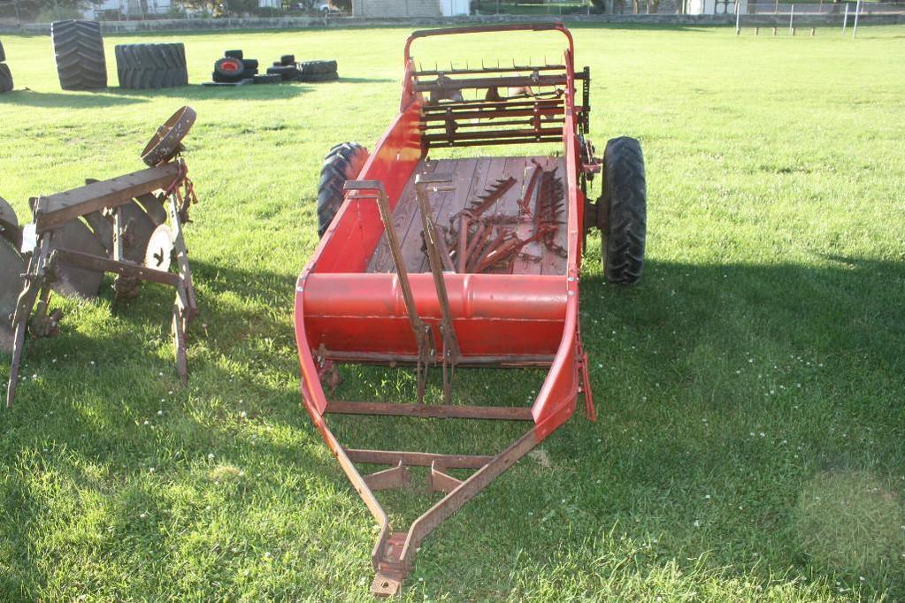 Old IH ground drive manure spreader,