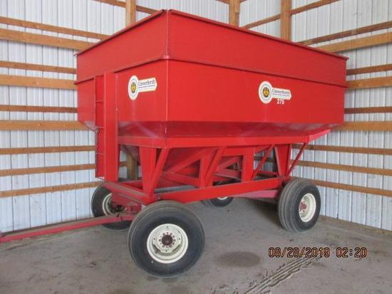 "Unverferth 275 bu gravity bin with 15"" side kit on Kilbro #1072,"