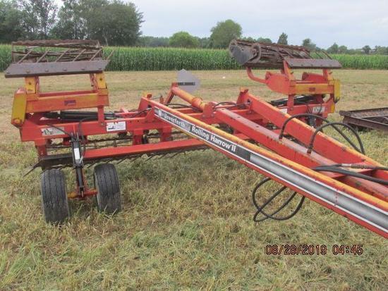Unverferth Rolling Harrow II, 18' hydraulic fold; pull type