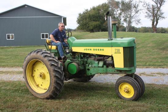 JD 730-D electric start, on 15.5 X 38 tires,