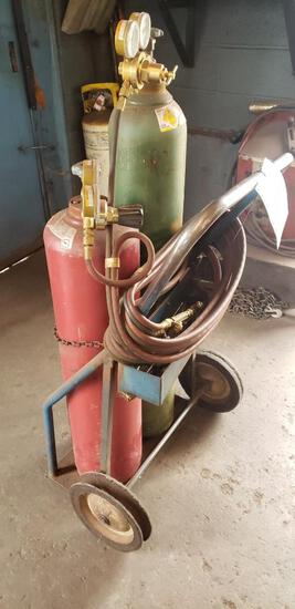 Acetylene torch set with cart