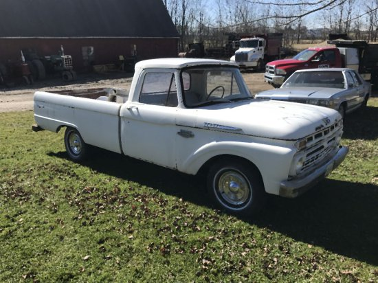 1965 White Ford F-100 Truck 3 speed with Overdrive