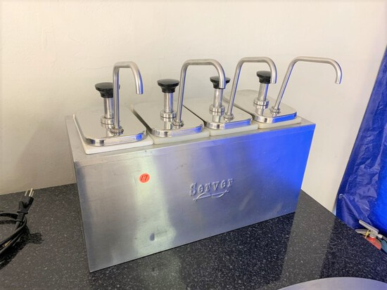 Server counter top condiment disenser, model - SR4, 4 pump station, series number - 80A94C