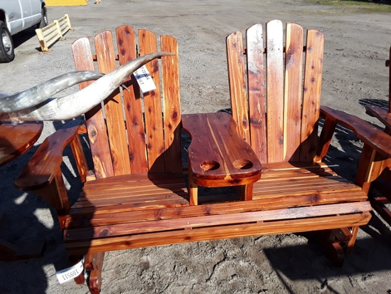 2 PERSON WOOD ROCKING CHAIR  , AS-IS,  #109511