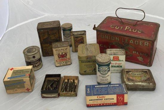 Box Lot of Kitchen Tins, Crackerbox etc.