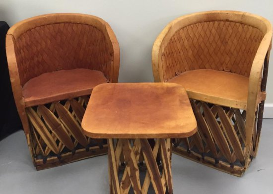 Lot of Leather Chairs and side table