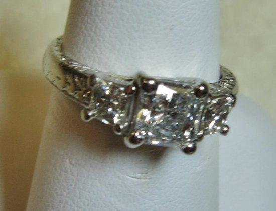 """Platinum """"Varna"""" ladies three stone diamond ring"""
