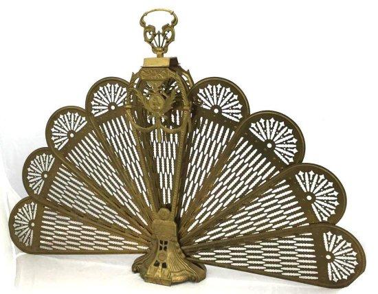 Antique Brass Ornate Fire Screen
