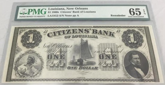 Louisiana Note $1, LA15G2, S/N, NOppA