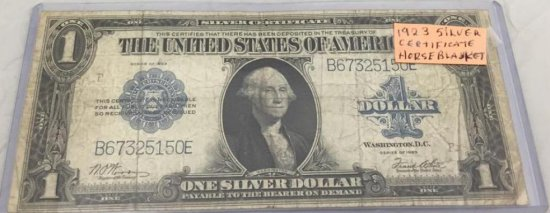 1923 Silver Certifcate Horse Blanket