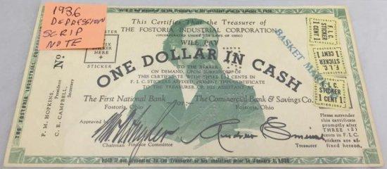 1936 Depression Scrip Note