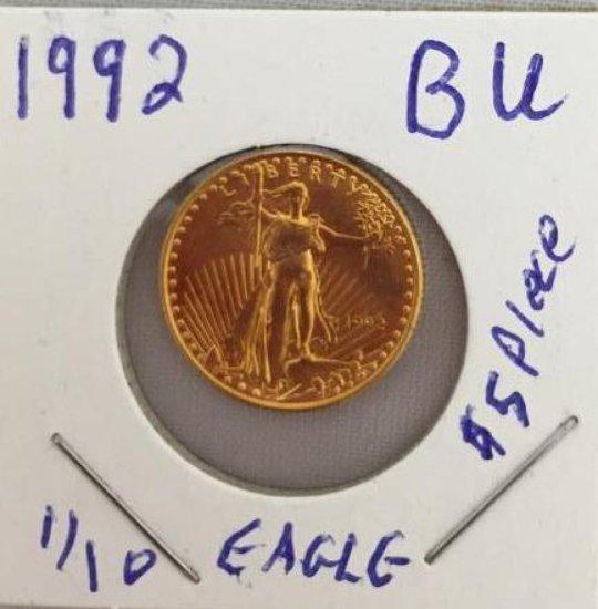 1992 BU Gold Eagle $5 piece, 1/10