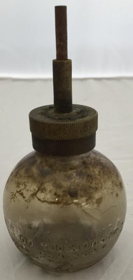 Made for Vacuum Oil Co. Glass oil bottle, Antique