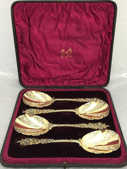 Silver Gilted 1880-1890, Serving Spoons with Fitted Case, by Barraclough and Sons