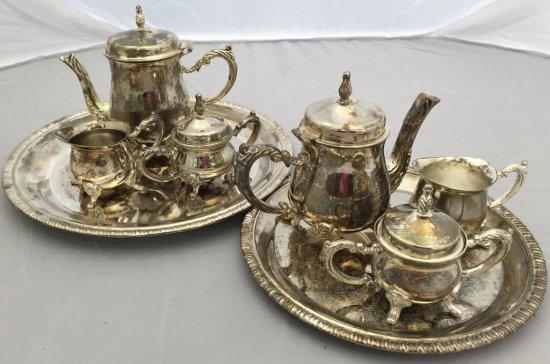 Lot of 2 Silverplate tea sets