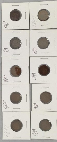 Lot of 10 Indian Head Pennies, All 1800's Great Condition