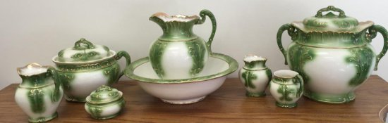 Lot of 7 Piece Green and White Pitcher and Bowl Set
