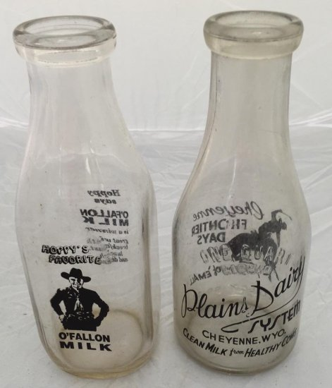 Lot of 2 Milk Bottles, Hopalong Cassidy and 1 Bucking Bronco