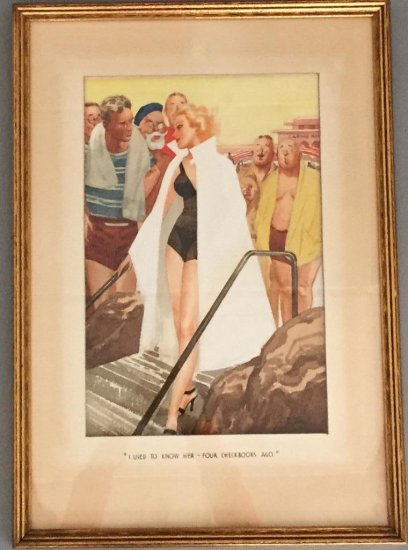 "Signed Print Saying "" I used to know her four checkbooks ago) 1930-1940"