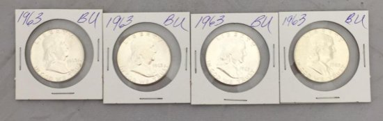 Lot of 1963 Franklin BU Half Silver Dollars