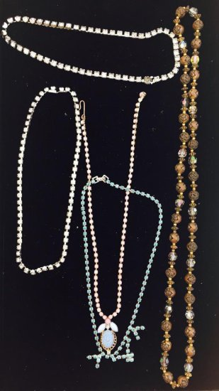 Lot of 5 Beautiful Costume Necklaces Includes Rhinestone Necklaces