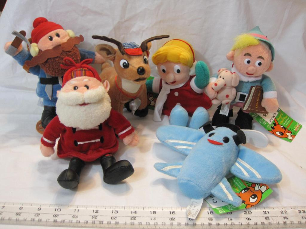 Lot of 6 Rudolph the Red-Nosed Reindeer Stuffins Plush Toys, 1 lb