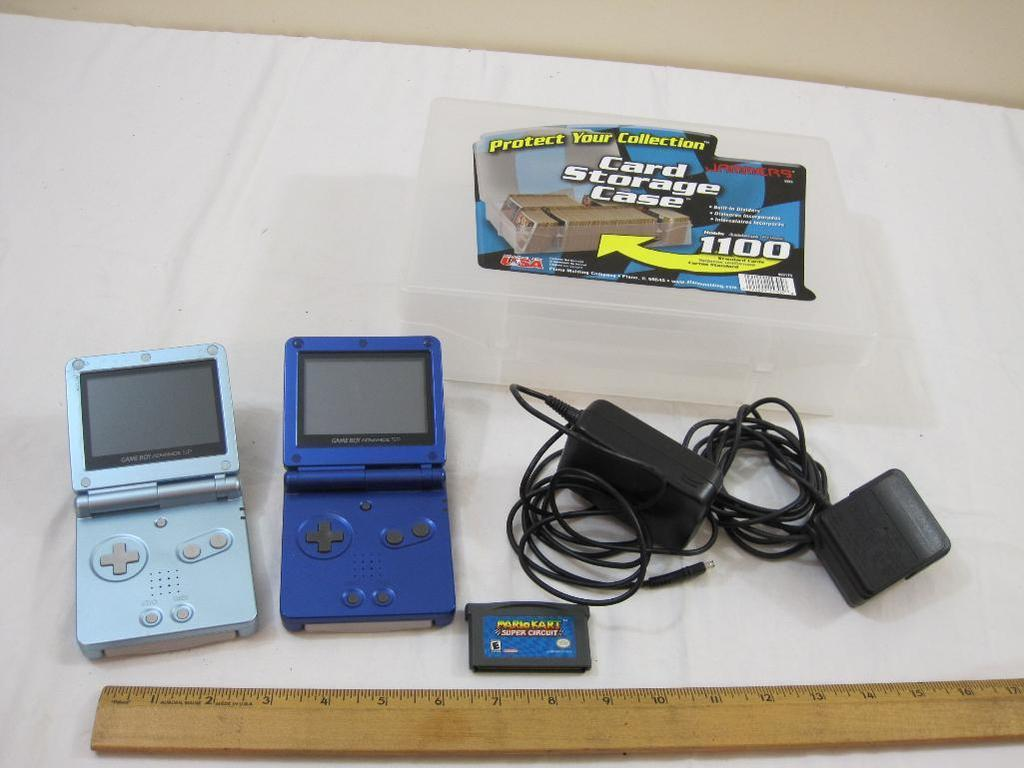 TWO Nintendo Game Boy Advance SPs with chargers and 3 games/videos (Mario Kart Super Circuit,
