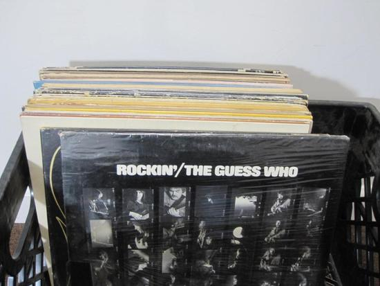 Lot of 25+ vinyl records including The Guess Who, Dan Folgelsberg, Lionel Richie, James Taylor and